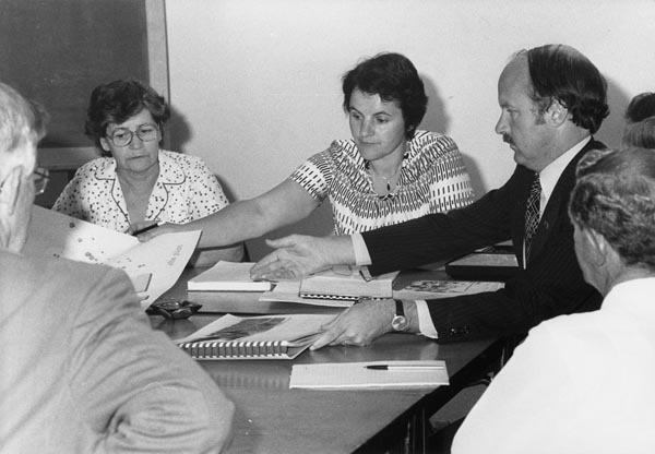 Kath Bourke, left, with Margrit Davies and John Halsem at a Meeting of the BuildersSub-Committee of Woden Senior Citizens Club, 1980