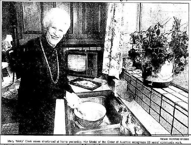 Molly Clark at her kitchen sink, 1995