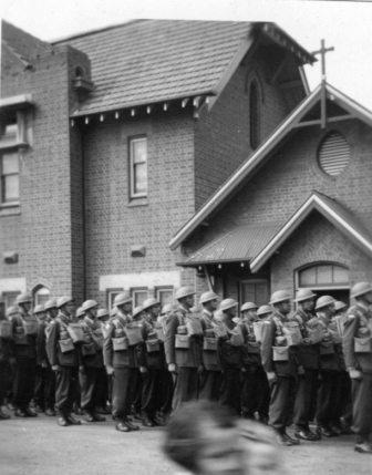 Men of the 3rd Battalion on parade in front of a building in Bathurst in October 1941. Image courtesy of Gavin Young.