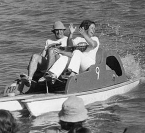 Senator John Knight and wife, Karla, victorious in the Canberra Day paddle boat race