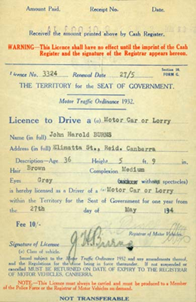 Burns Drivers Licence issued on May 27 1934