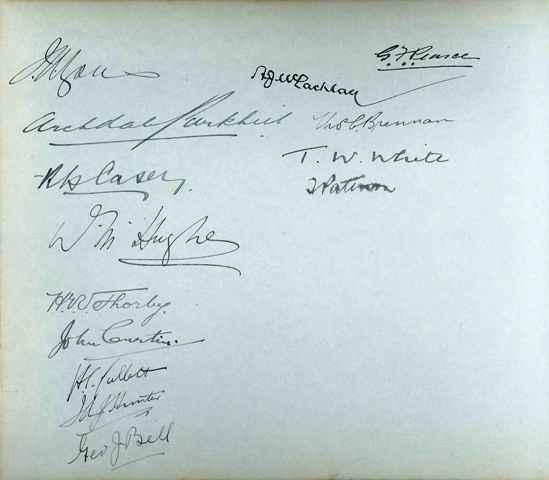 Signatures inside album presented to Walter C Hankinson