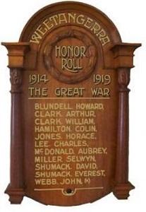 Weetangera Honor Roll listing Colin Hamilton