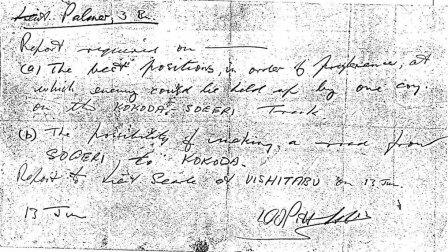 Copy of the handwritten instructions to Alex Palmer for the patrol, 1942. Image courtesy of Gavin Young.