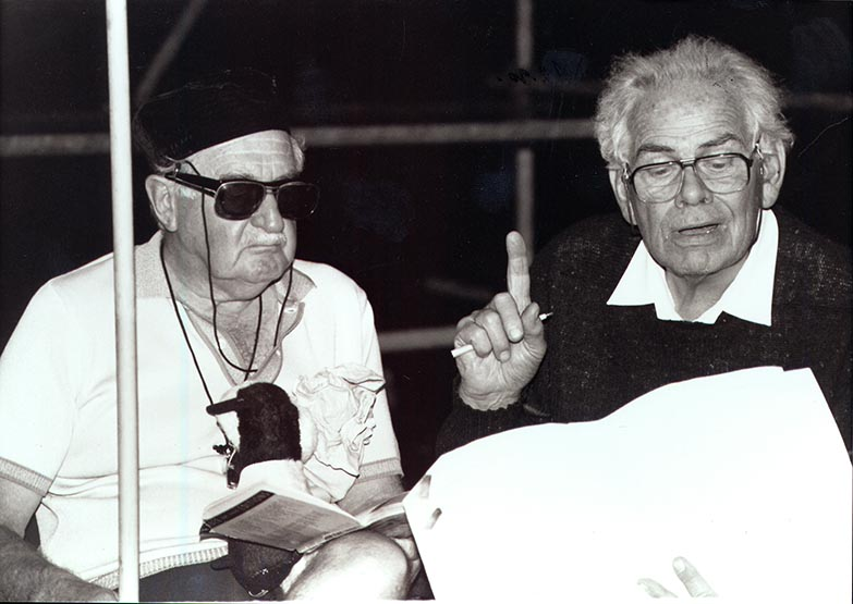 Ralph Wilson, right, rehearses Hector Macmillan in the play, Endgame, 1990
