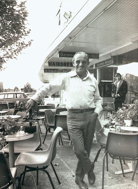 Gus Petersilka outside his cafe on Bunda Street, Civic, 1974