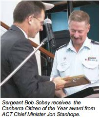 Bob Sobey receives the Canberra Citizen of the Year, Award from Chief Minister Jon Stanhope, 2002